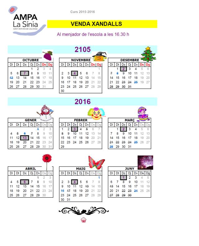 Calendari XANDALLS 15-16